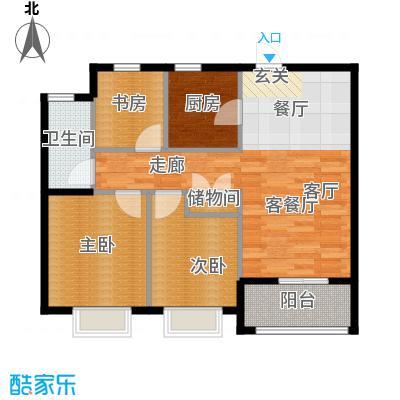绿城・玉兰花园・臻园90.00㎡F1户型3室2厅1卫
