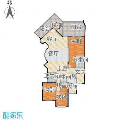 城市经典花园夏宫三房两厅三卫-219.46平方米户型