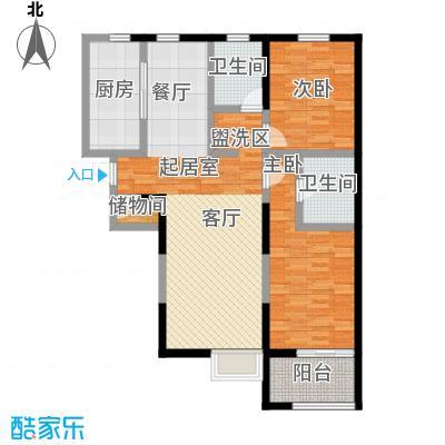 万科金色城品房型户型2室1厅2卫1厨