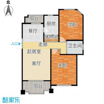 尚东国际名园房型户型2室1卫1厨