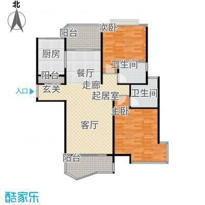 绿地东上海H-1户型2室2卫1厨