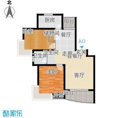绿地东上海L1户型 2室2厅1卫 100.53平米户型