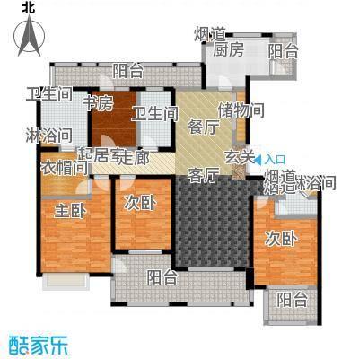 绿地梧桐院2#B4户型4室3卫1厨