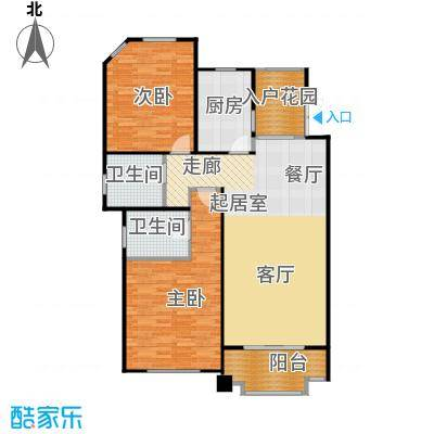尚东国际名园房型户型2室2卫1厨
