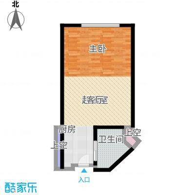 君誉江畔54.00㎡标房D户型1室1厅1卫