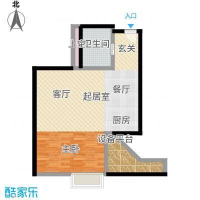 君誉江畔64.00㎡标房F户型1室2厅1卫
