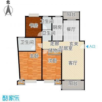 永达城市公寓130.00㎡房型: 三房; 面积段: 130 -140 平方米; 户型
