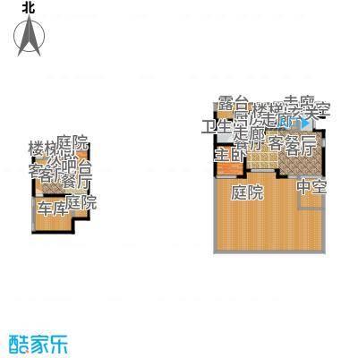 金地湾流域B5+地下一层与一层X户型2室2厅1卫1厨