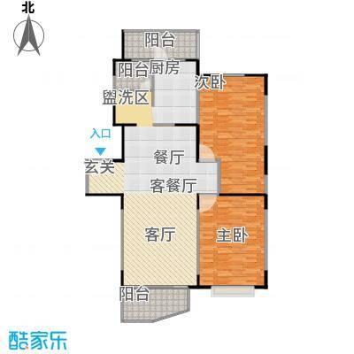 新世纪名苑104.66㎡房型: 二房; 面积段: 104.66 -147.19 平方米;户型