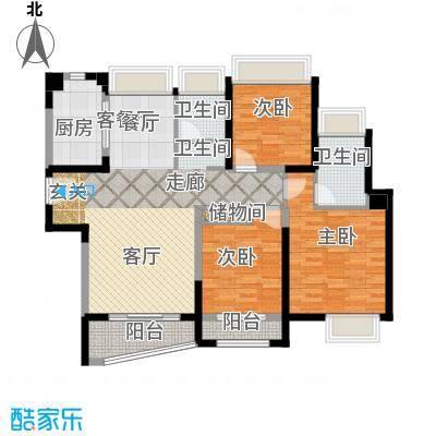 浦东颐景园B1户型3室1厅2卫1厨