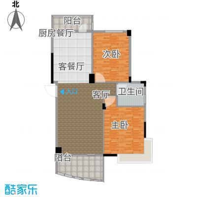 华亭荣园二期2室2厅2卫140平米南北通户型