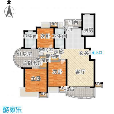 九城湖滨国际公寓160.90㎡D1户型图户型3室2厅2卫