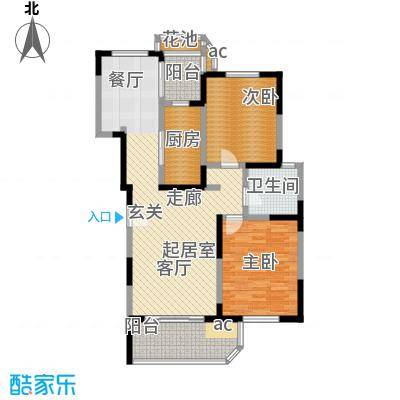 九城湖滨国际公寓户型2室1卫1厨