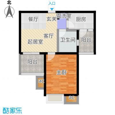 九城湖滨国际公寓60.00㎡A1户型图户型1室2厅1卫