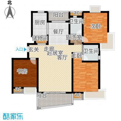 九城湖滨国际公寓户型3室2卫1厨