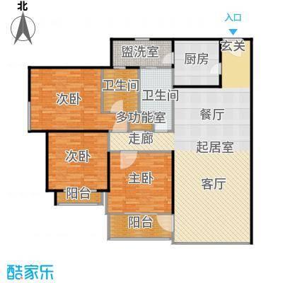 汇业公寓二期135平方米的三房两厅两卫南北户型