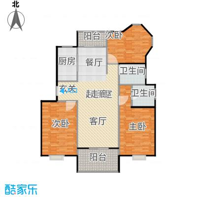 珠光苑二期房型户型3室2卫1厨