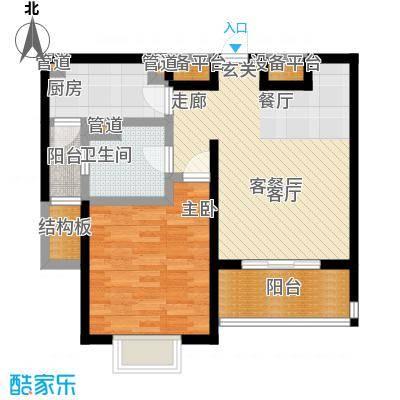绿洲康城1室2厅1卫 67平米户型