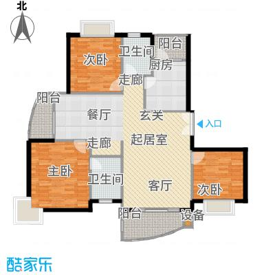 名门世家四期125.49㎡房型: 三房; 面积段: 125.49 -130.09 平方米; 户型