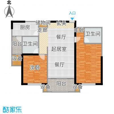 东明家园房型: 二房; 面积段: 105.5 -112.12 平方米; 户型