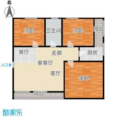 飞虹北村93平三室两厅一卫南北通户型