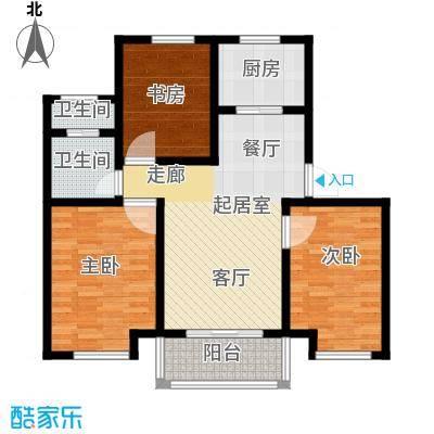 郁金香庭88.70㎡户型3室2卫1厨