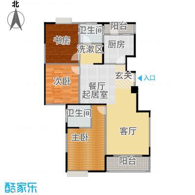绿地蔷薇九里E2户型3室2卫1厨