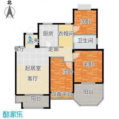 金地松江艺境户型3室1卫1厨