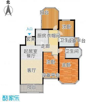 金地松江艺境户型3室2卫1厨