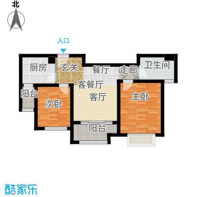 绿地新�香公馆B2户型2室1厅1卫1厨
