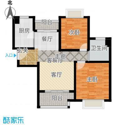 绿地新�香公馆C1/C4户型2室1厅1卫1厨
