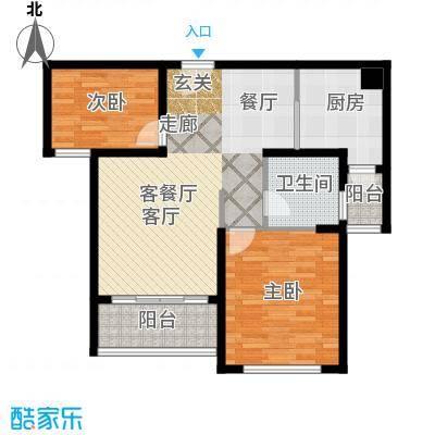 绿地新�香公馆A2户型2室1厅1卫1厨