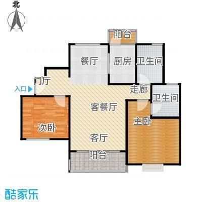仁恒运杰河滨花园房型户型2室1厅2卫1厨