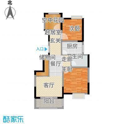 旭辉玫瑰湾A2爱丁伯爵2+型公寓房户型2室1卫1厨