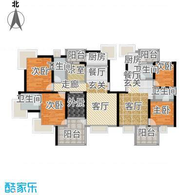 绿中海雅庭3-5楼户型4室4卫2厨