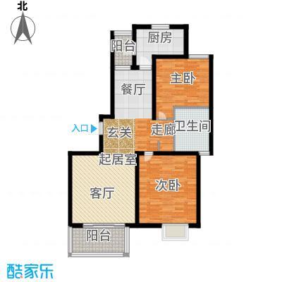 明城海湾新苑户型2室1卫1厨