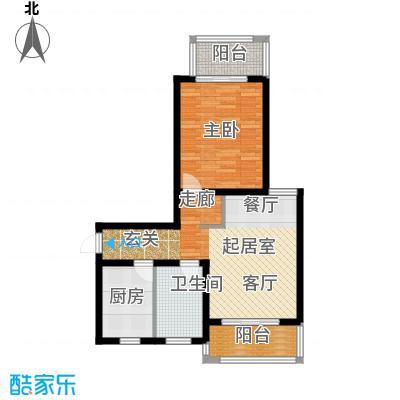 明城海湾新苑A1户型1室1卫1厨