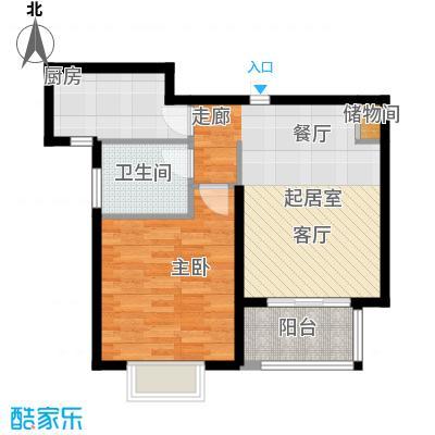 明城海湾新苑A3户型1室1卫1厨