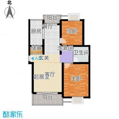 北港和景苑2房2厅1卫,面积约96平方米户型