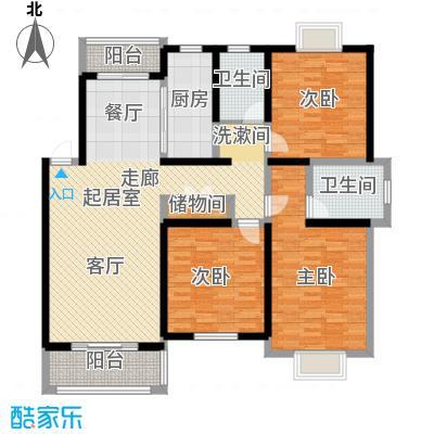 上海一家人楼盘D户型3室2卫1厨