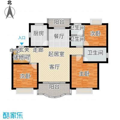 胡姬花园二期130.00㎡房型: 三房; 面积段: 130 -140 平方米; 户型