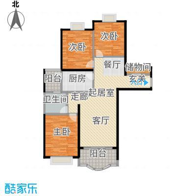 胡姬花园二期120.00㎡房型: 三房; 面积段: 120 -130 平方米; 户型