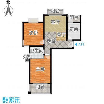 海尚墅林苑85.48㎡G户型2室1厅1卫户型2室1厅1卫