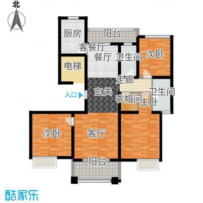 铭邦华府D室户型3室1厅2卫1厨