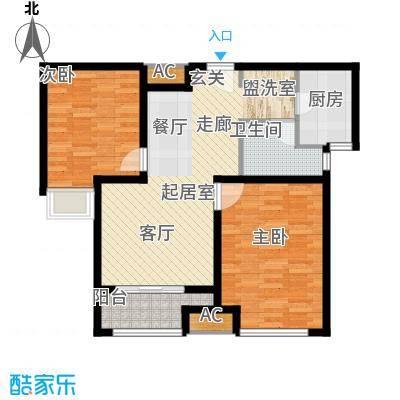 荣盛阳光逸墅82.62㎡1、2号楼B户型