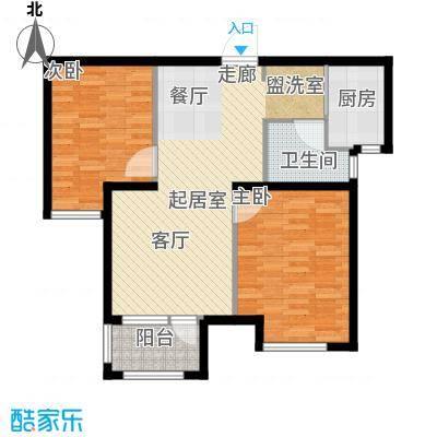 荣盛阳光逸墅78.69㎡5、7号楼E户型