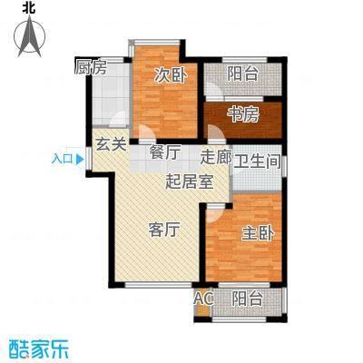 荣盛阳光逸墅91.63㎡5、7号楼A户型