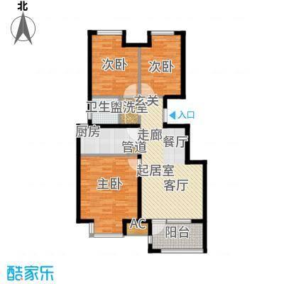荣盛阳光逸墅91.42㎡4、6号楼A户型