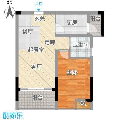 京海成鹿港溪山54.91㎡京海成・鹿港溪山2-3-4栋户单A1户型