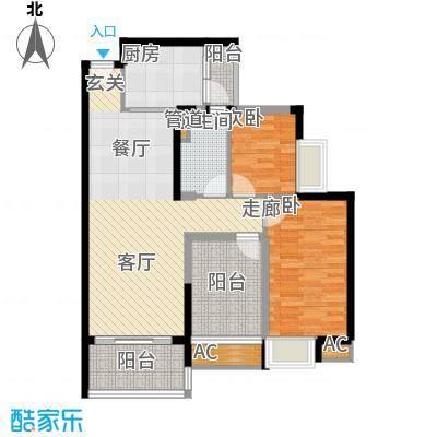 新会碧桂园90.00㎡五期花岸[亲情居]12、13、16幢标准层08户型